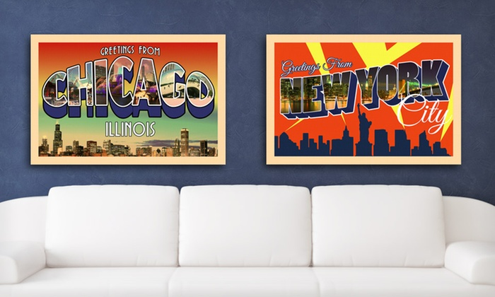 """16""""x24"""" City Postcard Canvas Print: $39.99 for a 16""""x24"""" City Postcard Canvas Print ($150 List Price). 16 Cities Available. Free Shipping and Returns."""