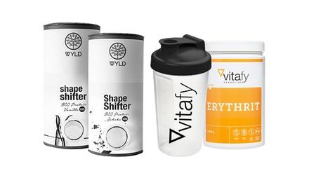 Vitafy 4er-Pack Ergänzungsmittel: 2x Bio Protein Shape Shifter, 1x Erythrit und 1x Shaker
