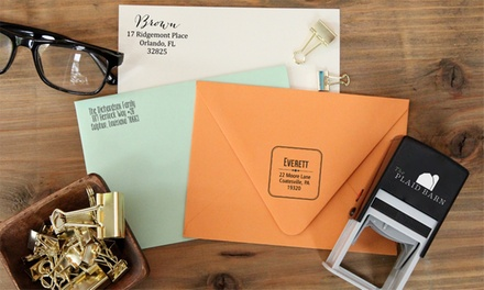 Rectangular or Square Self-Inking Stamps from The Plaid Barn (Up to 65% Off)