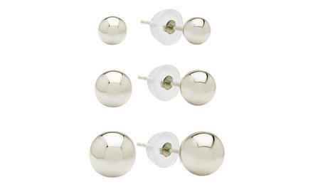 Kids' Polished Stud Earrings Set in Sterling Silver (3-Pack)