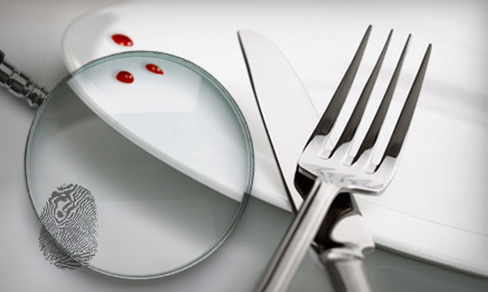 The Dinner Detective - Downtown Mesa: $75 for Four-Course Murder-Mystery Dinner for Two with Two Commemorative Mugs from The Dinner Detective ($151.55 Value)