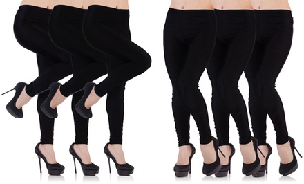 Women's Fleece-Lined Footless Tights (6-Pack)