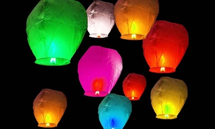 10-Pack Chinese Sky Lanterns in Assorted Colors