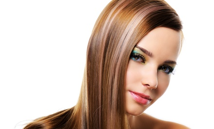 Haircut and Shampoo  with  Highlights or Keratin Treatment at River Falls Salon & Spa (Up to 55% Off)