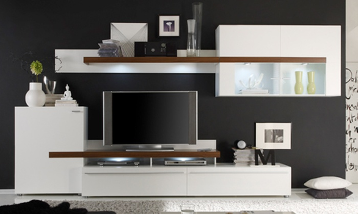 wohnwand mit led beleuchtung groupon goods. Black Bedroom Furniture Sets. Home Design Ideas