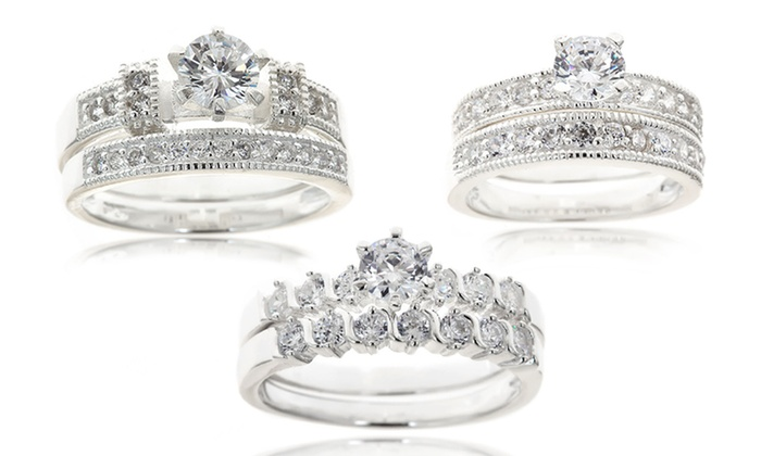 Sterling Silver Wedding Ring Sets: Sterling Silver Wedding Ring Sets. Multiple Designs Available. Free Shipping and Returns.