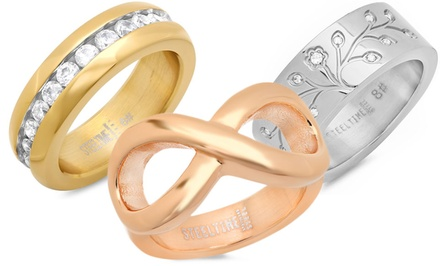Tree of Life, Infinity, or Cubic-Zirconia-Accent Ring or Set of 3 Tri-Colored Band Rings for $17.99 or $19.99