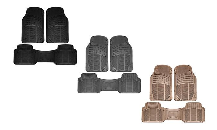 Universal Fit Ridged Rubber Car Floor Mats (3-Piece Set)