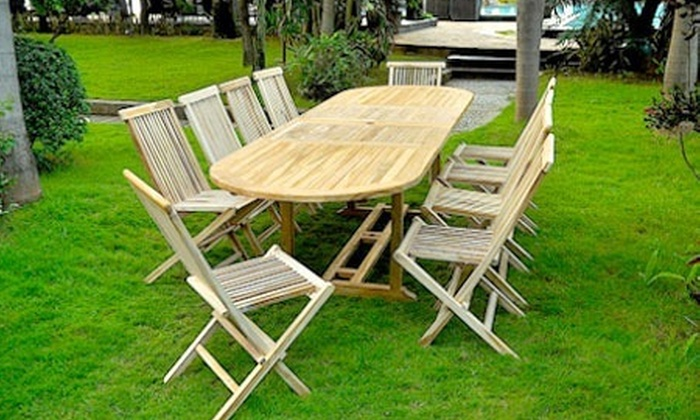 salon de jardin en teck huil pour 10 ou 12 personnes groupon shopping. Black Bedroom Furniture Sets. Home Design Ideas