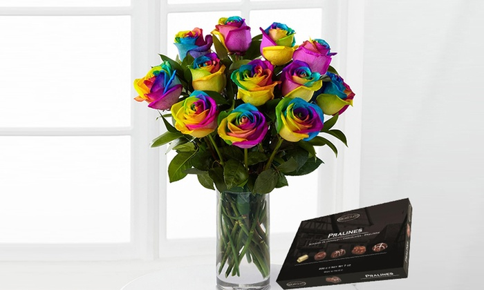 Rainbow Roses and Chocolates - 6-Flower