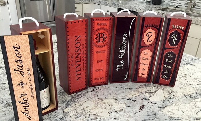 Qualtry: One or Two Personalized Decorative Wine Cases from Qualtry (Up to 56% Off)