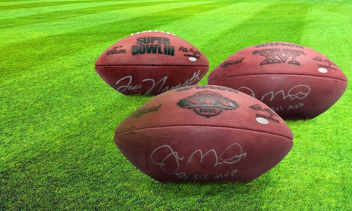 Autographed Memorabilia: Joe Namath or Joe Montana Autographed Football or Display Case (Up to 45% Off). Free Shipping.