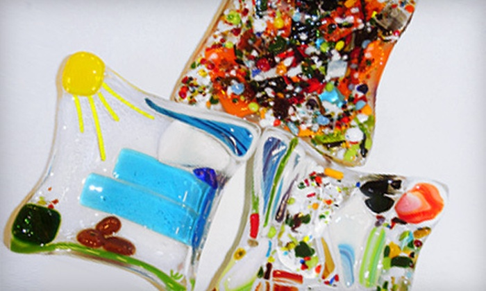 Fired Up Pottery - Quaker Heights: $15 for Make-Your-Own Fused-Glass Bowl or Three Pendants at Fired Up Pottery ($30 Value)