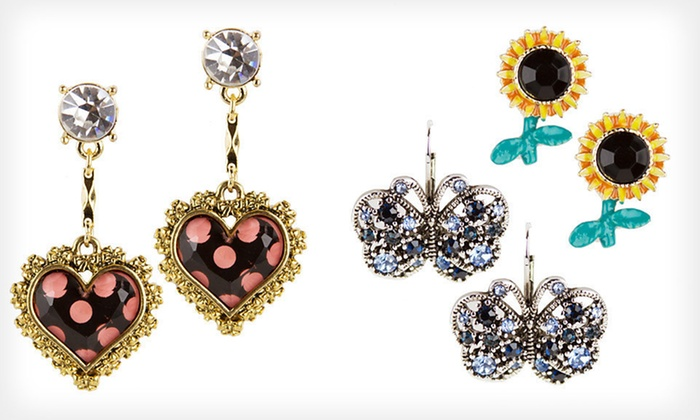 Betsey Johnson Jewellery: Betsey Johnson Earrings or Bracelet (Up to 68% Off). Multiple Styles Available.