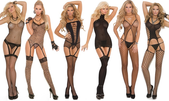 Sexy Bodystockings with Attached Thigh Highs in Regular and Plus Sizes