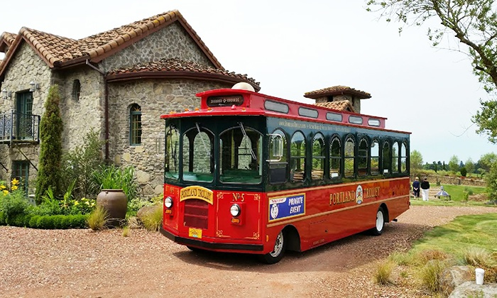 Portland Trolley - Oregon Wine Garden: Wine-Tasting Tour for Two or Four, or Two-Hour Trolley Rental for Up to 28 People from Portland Trolley (Up to 62% Off)