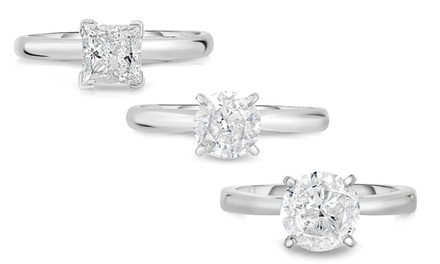 1.00 - 3.00 CTTW Round or Princess-Cut Diamond Solitaire Rings in 14K Gold
