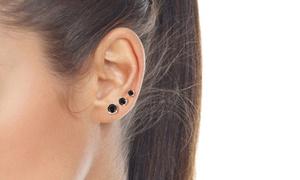 Black Cubic Zirconia Stud Earrings in Sterling Silver