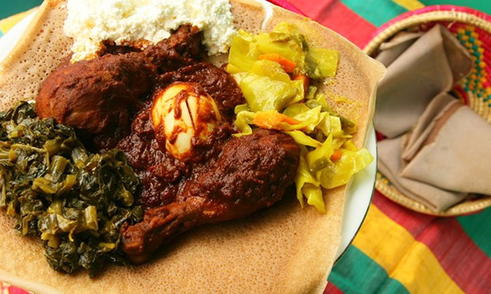 Aster's Ethiopian Restaurant - Aster's: Ethiopian Cuisine for Dinnerat Aster's Ethiopian Restaurant (Up to 48% Off). Two Options Available.