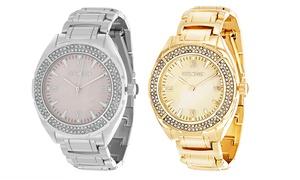 Steve Madden Women's Roman-Numeral Crystal-Case Link Bracelet Watch