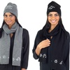 Knitted Hat and Scarf Set with Crystal Stone Accent
