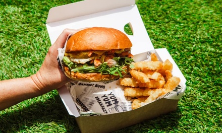 Choice of Burger with Fries for One $10, Two $19 or Four People $38 at XCARGO Up to $76 Value
