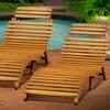 Acacia Wood Folding Chaise Lounge (Set of 2)