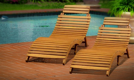 Acacia wood folding chaise lounge set of 2 groupon for Acacia wood chaise lounge