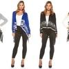 Women's Long-Sleeve Argyle Flyaway Cardigan