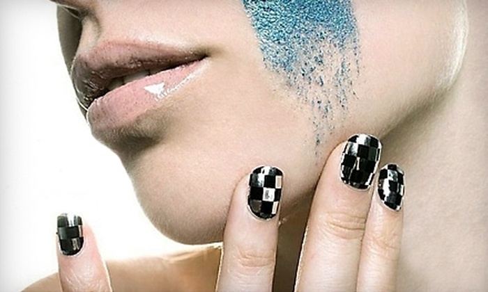 212 Salon - Midtown: One or Two Shellac Mani-Pedis with Minx Additions at 212 Salon (Up to 62% Off)
