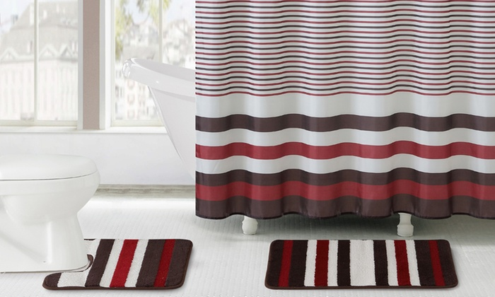 15 Piece Bath Set Collection With Rugs, Shower Curtain, And Hooks: 15 ...