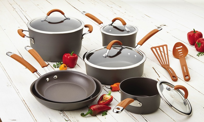 Rachael Ray Cucina Hard-Anodized Nonstick Cookware Set (12-Piece)