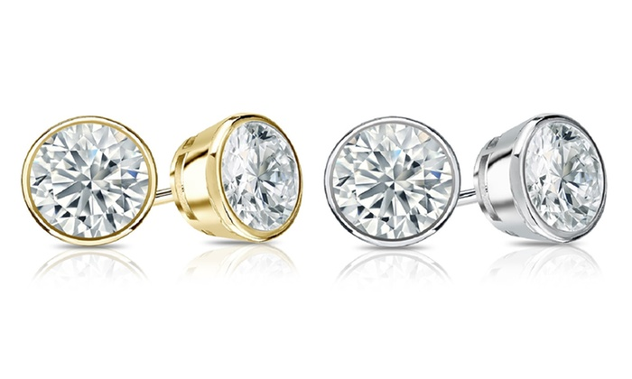 design own diamond white in bezel round earrings your bpid setting gold allurez stud set