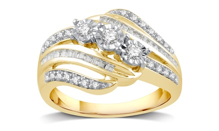 1/4 CTTW Diamond Three Stone Ring in Yellow Gold Plating by DeCarat
