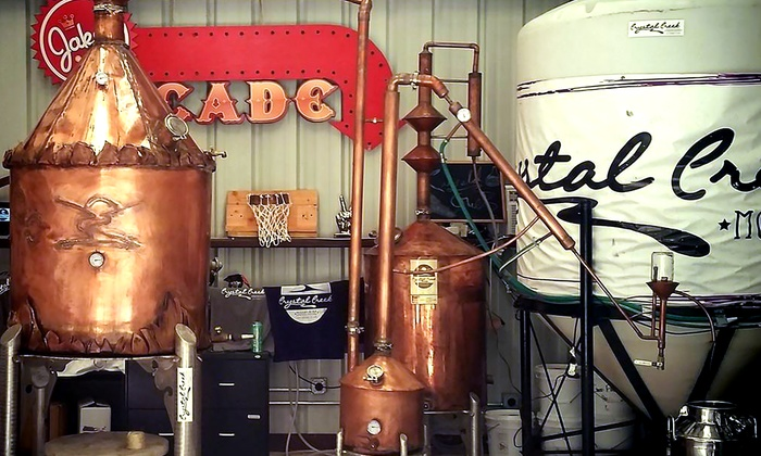 Crystal Creek Moonshine - Crystal Creek Moonshine: Tour with Tasting, Souvenir Glasses and Apparel for Two or Four at Crystal Creek Moonshine (Up to 56% Off)