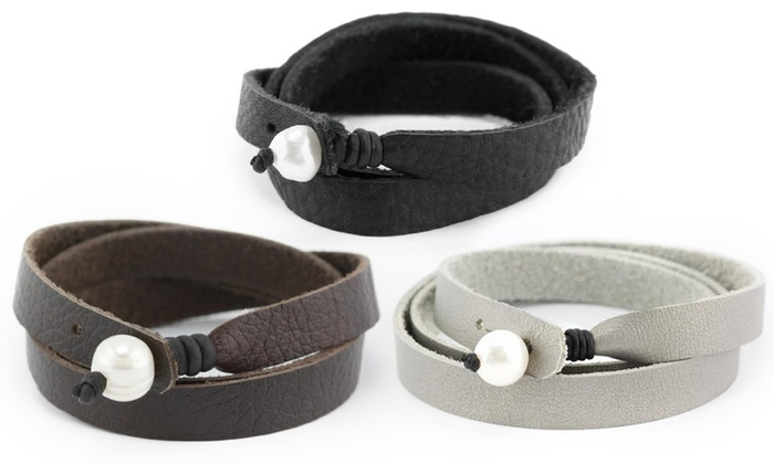 Ayla's Originals - In-Store Pickup: Black, Brown, or Silver Leather Wrap Bracelet with In-Store Pickup at Ayla's Originals (41% Off)
