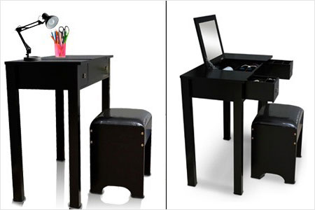 station make up 3 en 1 noire ou blanche et son tabouret groupon shopping. Black Bedroom Furniture Sets. Home Design Ideas