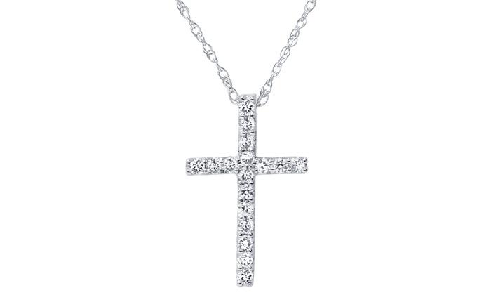 White gold diamond cross pendant groupon goods 110 cttw diamond cross pendant in 10k white gold by bliss diamonds 1 mozeypictures Gallery
