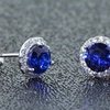 3.00 CTTW Genuine Sapphire and Cubic Zirconia Halo Stud Earrings