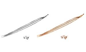 Triple-strand Tennis Bracelet And Earrings Set With Swarovski Elements