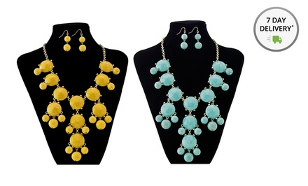 Bubble Necklace and Earrings Set. Multiple Colors Available. Free Returns.