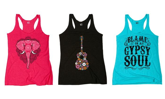 7ec8c073aa760 Ladies Free Spirit Women s Graphic Print Tank Tops