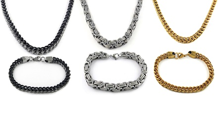 Men's Stainless Steel Byzantine or Franco Chain 2-Piece Bracelet and Necklace Set