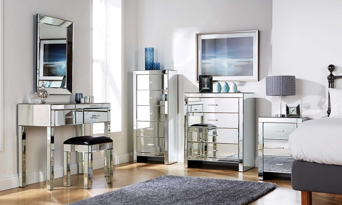 Groupon Goods Global GmbH  Romantica Mirrored Bedroom Furniture With Free  Delivery. Mirrored Bedroom Furniture   Groupon Goods