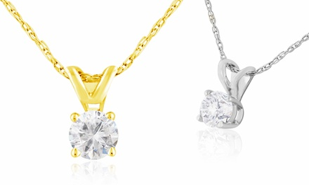 1/4-Carat Diamond Pendant Necklace in 14-Karat White or Yellow Gold