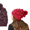 Peach Couture Pom-Pom Hats with Pearls (2-Pack)