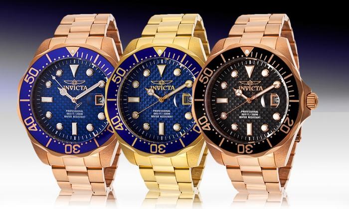 Invicta Men's Pro Diver Watches: Invicta Men's Pro Diver Watch in Gold/Blue, Rose Gold/Black, or Rose Gold/Blue. Free Returns.