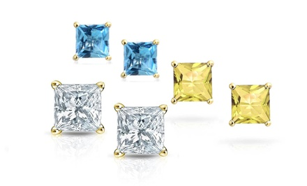 18K Gold Plated Swarovski Elements Princess-Cut Birthstone Stud Earrings