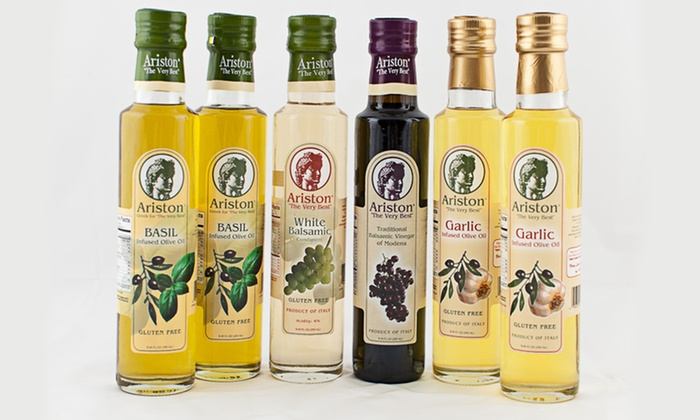 Ariston Six-Piece Olive Oil and Vinegar Collection: $39.99 for Ariston Six-Piece Olive Oil and Vinegar Collection ($95.94 List Price). Free Shipping.