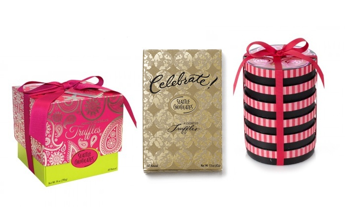 Seattle Chocolates - Seattle Chocolates Retail Showroom: 14 Oz. Pink Paisley or 12 Celebrate! Gift Boxes or 6 Derby Hat Box Stocks at Seattle Chocolates (Up to 42% Off)